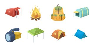 Different kinds of tents icons in set collection for design. Temporary shelter and housing vector symbol stock web Stock Photo