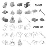 Different kinds of tents monochrom icons in set collection for design. Temporary shelter and housing vector symbol stock. Illustration stock illustration