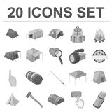 Different kinds of tents monochrome icons in set collection for design. Temporary shelter and housing vector symbol Stock Photos
