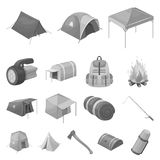 Different kinds of tents monochrome icons in set collection for design. Temporary shelter and housing vector symbol Stock Photo