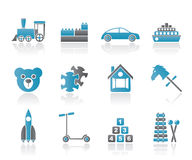 Different Kinds of Toys Icons Royalty Free Stock Photos