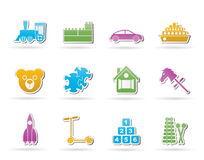 Different Kinds of Toys Icons Stock Photography