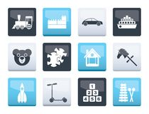 Different Kinds of Toys Icons over color background. Vector Icon Set stock illustration