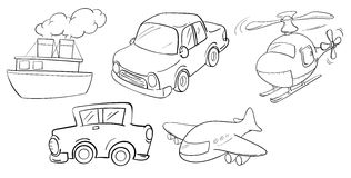 Different kinds of transportations Royalty Free Stock Images
