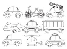 Different kinds of transportations Stock Photo