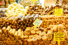 Different kinds of Turkish delight sweets at the Market Stock Photography