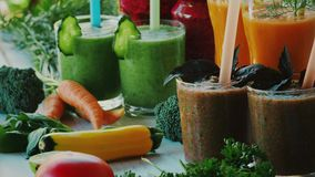 Different kinds of vegetable and fruit smoothies