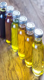 Different kinds of vegetable oil Stock Images