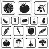 Different kinds of vegetables black icons in set collection for design. Vegetables and vitamins vector symbol stock web. Different kinds of vegetables black Royalty Free Stock Photography