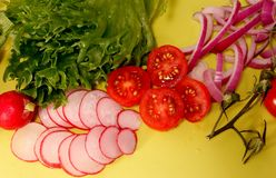 Different kinds of vegetables sliced on a yellow background royalty free stock photos