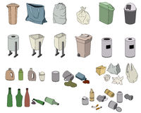 Different kinds of waste and various bins. Different kinds of waste and various rubbish bins  on white Stock Photography