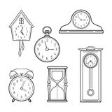 Different kinds of watches. Linear icons, objects. Vector Royalty Free Stock Photo