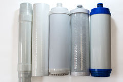 Different kinds of water filters Stock Image