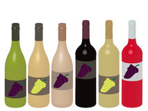 Different Kinds of Wine Bottles 3D Stock Photo