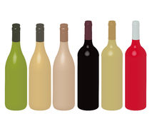 Different Kinds of Wine Bottles Without Labels 3D Stock Photos