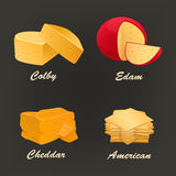 Different kinds of yellow cheese icon. Vector illustration. Collection of different kinds of yellow cheese icon. Vector illustration include cheddar, colby Royalty Free Stock Photography