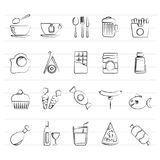 Different king of food and drinks icons 1. Icon set Royalty Free Stock Images