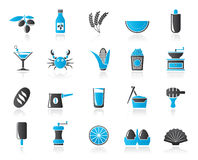 Different king of food and drinks icons 3 Royalty Free Stock Images