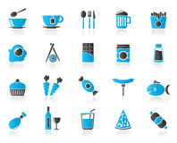Different king of food and drinks icons 1 Stock Photography
