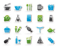 Different king of food and drinks icons 1 Royalty Free Stock Images