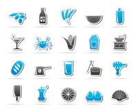 Different king of food and drinks icons 3 Stock Photo
