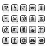 Different king of food and drinks icons 3 Royalty Free Stock Photos
