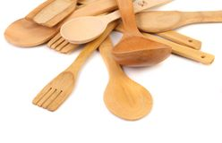 Different kitchen wooden utensils cutlery close up Stock Photo