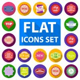 Different label flat icons in set collection for design. Index and brand vector symbol stock web illustration. Royalty Free Stock Image