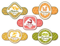 Different labels for fruits and berries Stock Images
