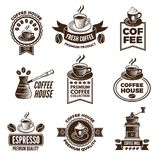 Different labels set for coffee house. Pictures of cups of coffee and caffeine beans. Coffee drink in cup, label for shop sticker. Vector illustration stock illustration