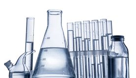 Different laboratory beakers and glassware. Stock Photography