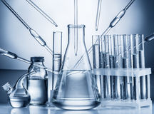 Different laboratory beakers and glassware. Stock Images