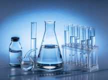 Different laboratory beakers and glassware. royalty free stock image