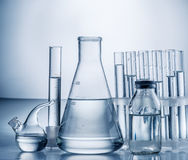 Different laboratory beakers and glassware. Stock Photo