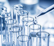 Different laboratory beakers and glassware. Royalty Free Stock Photography