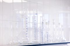 Different laboratory glassware. Test tubes and flasks stock photo