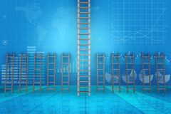 The different ladders in career progression concept - 3d rendering Stock Image