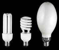 Different lamps. Composition made by three different type of lamps Royalty Free Stock Photo