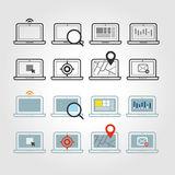 Different laptop icons set with rounded corners Royalty Free Stock Photo