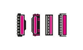 Different Laser Cartridge Icons Set with Magenta Toner stock illustration