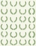 Different laurel wreaths. Green silhouettes of different laurel wreaths, illustration vector illustration