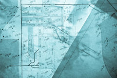 Different layers of blue backlit surveyor's plans Royalty Free Stock Photos