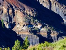 Different layers of volcanic ashes on the road from Teide to Esperanza on Tenerife. Tarta.  stock photo