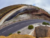 Different layers of volcanic ashes on the road from Teide to Esperanza on Tenerife. Tarta.  royalty free stock photos