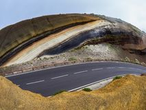 Different layers of volcanic ashes on the road from Teide to Esperanza on Tenerife. Tarta.  stock image