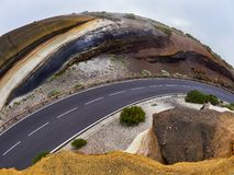 Different layers of volcanic ashes on the road from Teide to Esperanza on Tenerife. Tarta.  royalty free stock photo