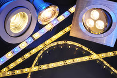 Different LEDs. Different current LEDs-technologies in one picture stock images