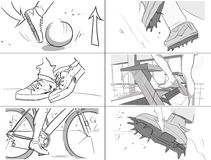 Different leg moves storyboards. Black and white stock illustration
