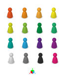 Different leisure game pawn figures. Different leisure game pawn figures, concept for diverse group of people. Cutout, isolated on white Stock Photo