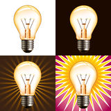 Different light bulb backgrounds Royalty Free Stock Photos